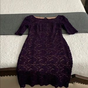 Purple Lace Formal Dress with Sleeves